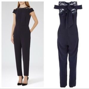 Reiss Nicky Navy Lace Jumpsuit